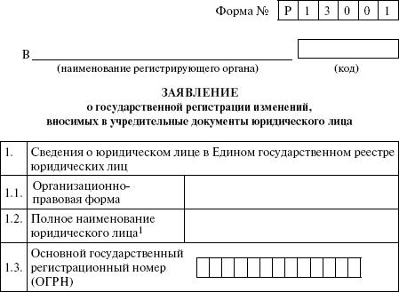 Заявление на регистрацию изменений в уставе