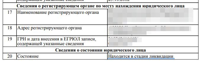 Информация о состоянии юридического лица