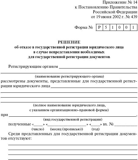 Решение об отказе в госрегистрации ЮЛ