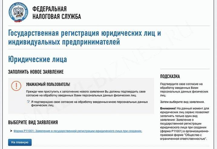Подача заявления через сайт ФНС