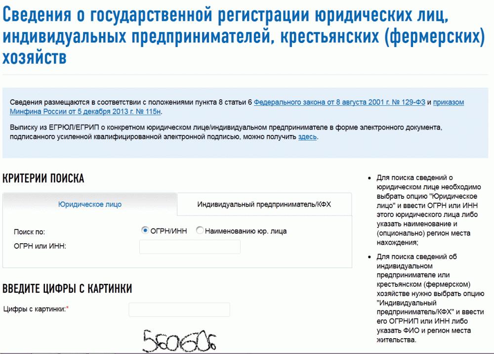 Запрос на сайте ФНС